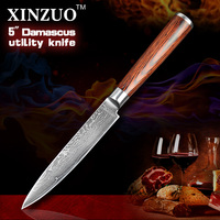 XINZUO 5 Utility Knife Japanese VG10 Damascus Kitchen Knife Paring Knife Kitchen Tool Color Wood Handle