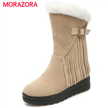 MORAZORA Flock mid calf boots height increasing women boots winter warm comfortable snow boots buckle solid platform shoes