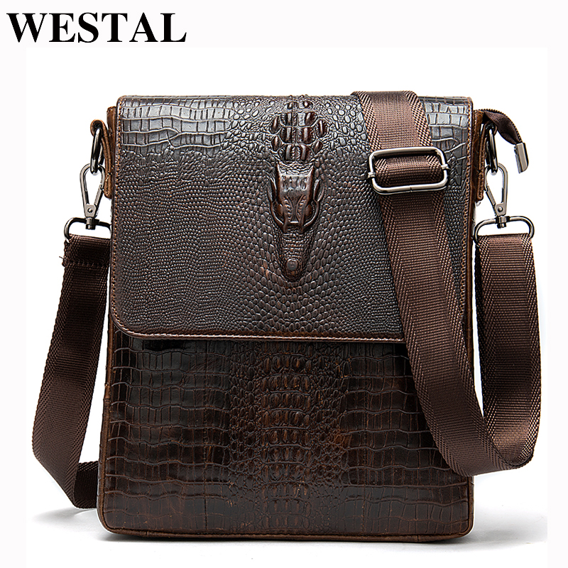 WESTAL messenger bag men's shoulder bags for men crocodile pattern handbag men's crossbody bags genuine leather flap zipper bags