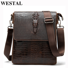 WESTAL omuz çantası erkekler erkek omuz çantaları erkekler için timsah desen çanta erkek crossbody çanta hakiki deri flap fermuarlı çantalar