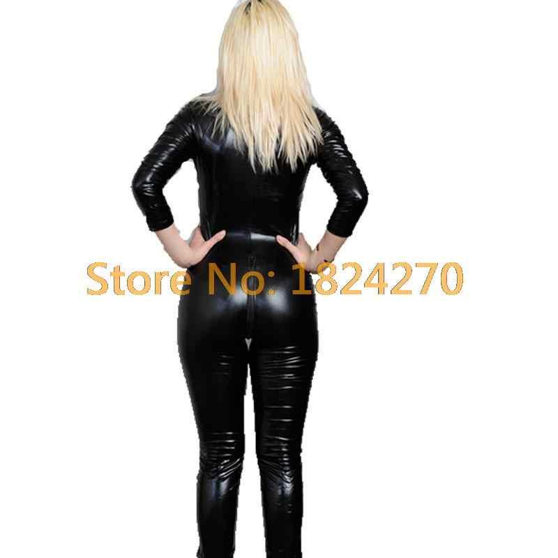 2015 горячий сексуальный черный кот женский комбинезон ПВХ Облегающий комбинезон из спандекса и латекса костюмы для женщин боди Фетиш кожаное платье плюс размер XXL