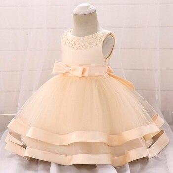 53224c763 Vestido de invierno para niña de manga larga blanco vestidos de bautismo  bebé niña de 1 año ropa de cumpleaños niño niña de encaje baile de bautizo  vestido ...