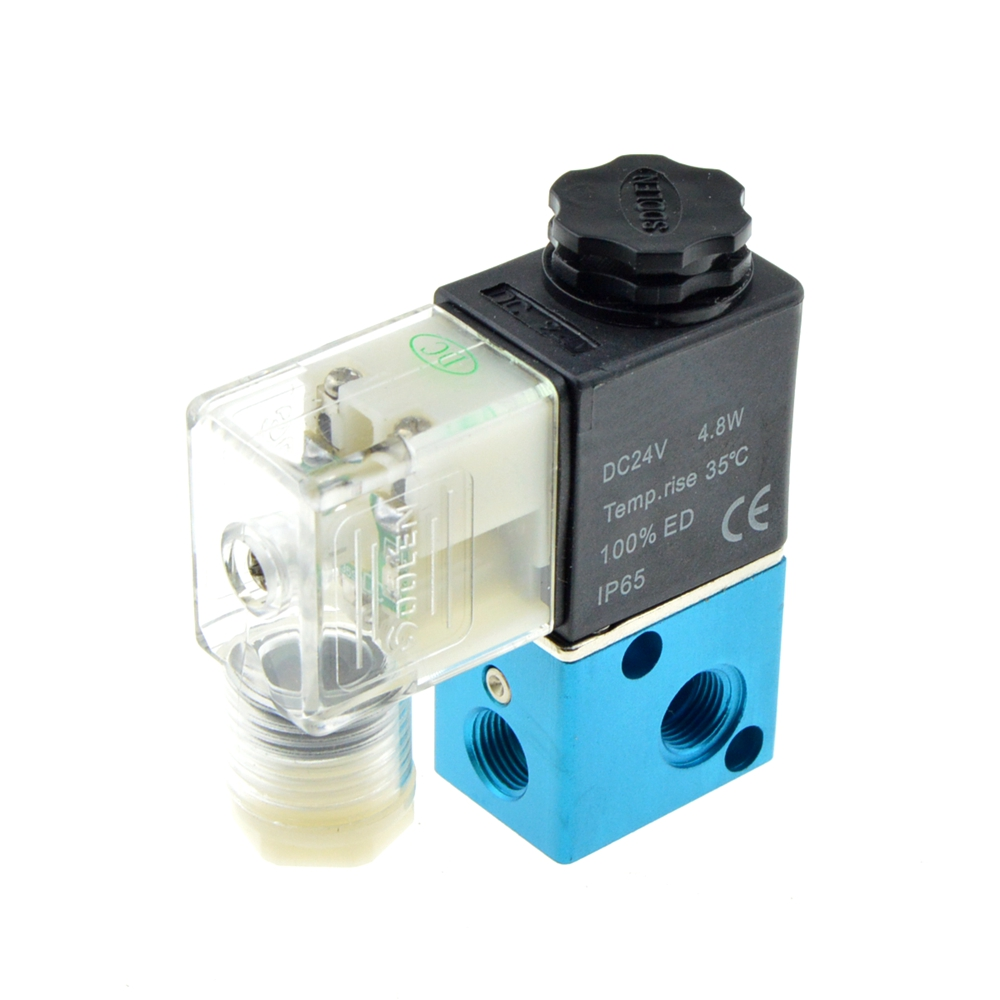Pneumatic Air Solenoid Valve 2 Position 3 Port Way 1/8 BSP Female Thread NC Normally Closed Electric Magnetic Valve 12V 24V 220V 10pcs 3 port 2 pos 3 8 bsp normally closed hand lever air valve hand return
