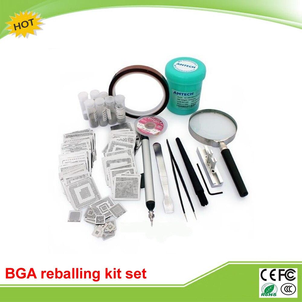 231pcs BGA reballing kit direct heat stencils solder balls flux scraper brush tweezer for laptop lead free bga solder balls 250k 0 35mm for bga repair bga reballing kit bga solder ball