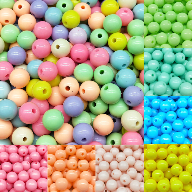 30-200pcs/lot 3-12mm New Hot Fashion Explosion models Mixed Round Acrylic Spacer Beads Jewelry making for Bracelet Necklace DIY