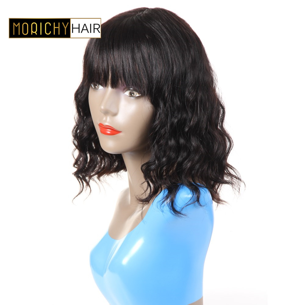 Romantic Sapphire Wig Human Hair Wigs With Adjustable Bangs Short Bob Wigs 14inch Peruvian Ocean Wave Non Remy Hair Wigs Natural Hairline Hair Extensions & Wigs Lace Wigs