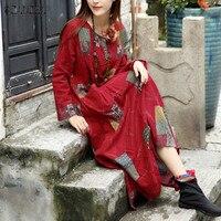 ZANZEA Women Dress 2017 Autumn Vintage Printed Dress Casual Loose Long Sleeve Asymmetrical Hem Long Maxi