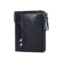 Factory Direct Sale Man Purse Leather Wallet Retro Leather Double Zipper Zero Purse