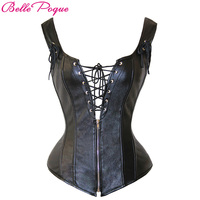 Belle Poque Black Steampunk Top PU Leather Lace Up Corset Overbust With G String 2017 Women