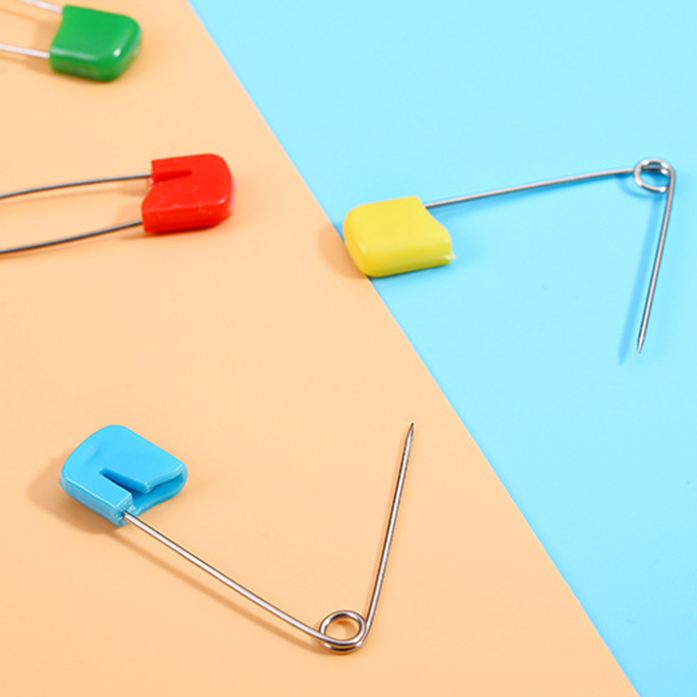 10Pcs Box Plastic Head Baby Safety Pins Stainless Steel Cloth Diaper Nappy Clip for baby care