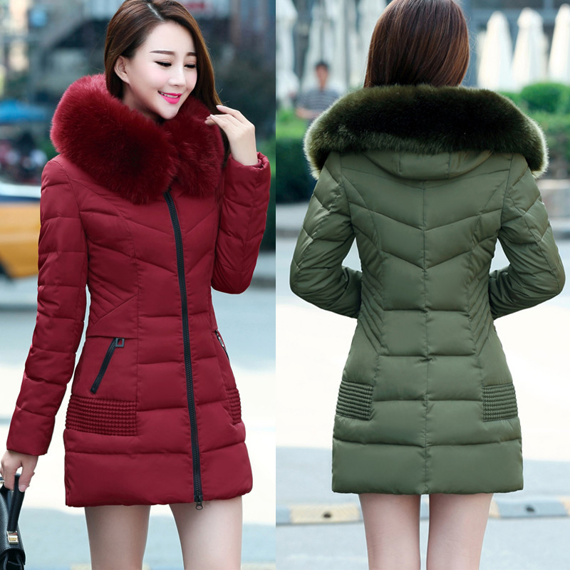 ФОТО Winter new women 's cotton long thickening warm Korean Slim Down Mature fur collar middle - aged women' s jacket