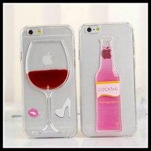 3D Liquide Rouge Vin Tasse Transparent Téléphone Cas pour Iphone Coque De Carcasas Fundas TPU Couverture pour Smartphones