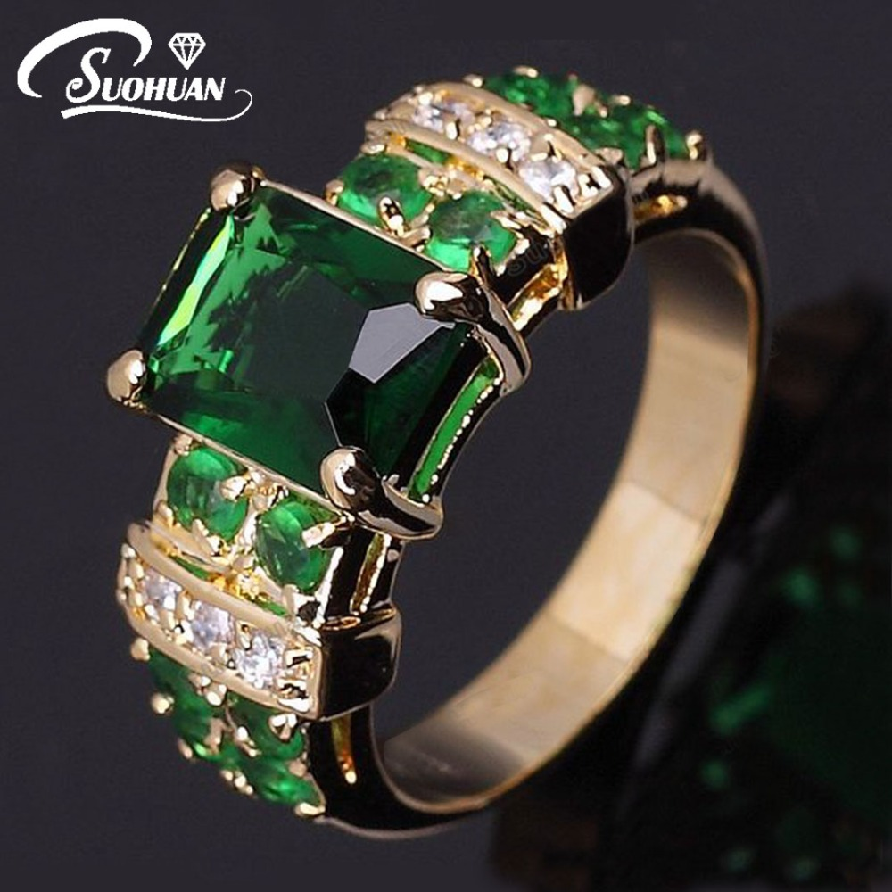 Wholesale Women Gold Ring Female Green Stone IP Gold Plated Jewelry Vintage R