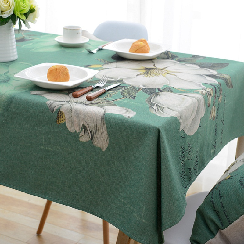 Pastoral Floral Printed Table Cloth Polyester Fabric Tablecloth Dust Proof Square Rectangular Table Cover Home Textile