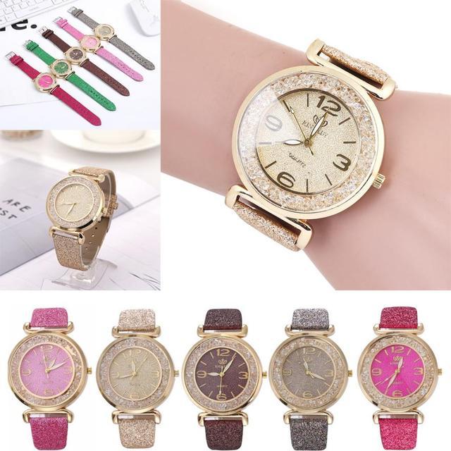 Fashion Women Crystal Stainless Steel Analog Quartz Wrist Watch ladies watches t