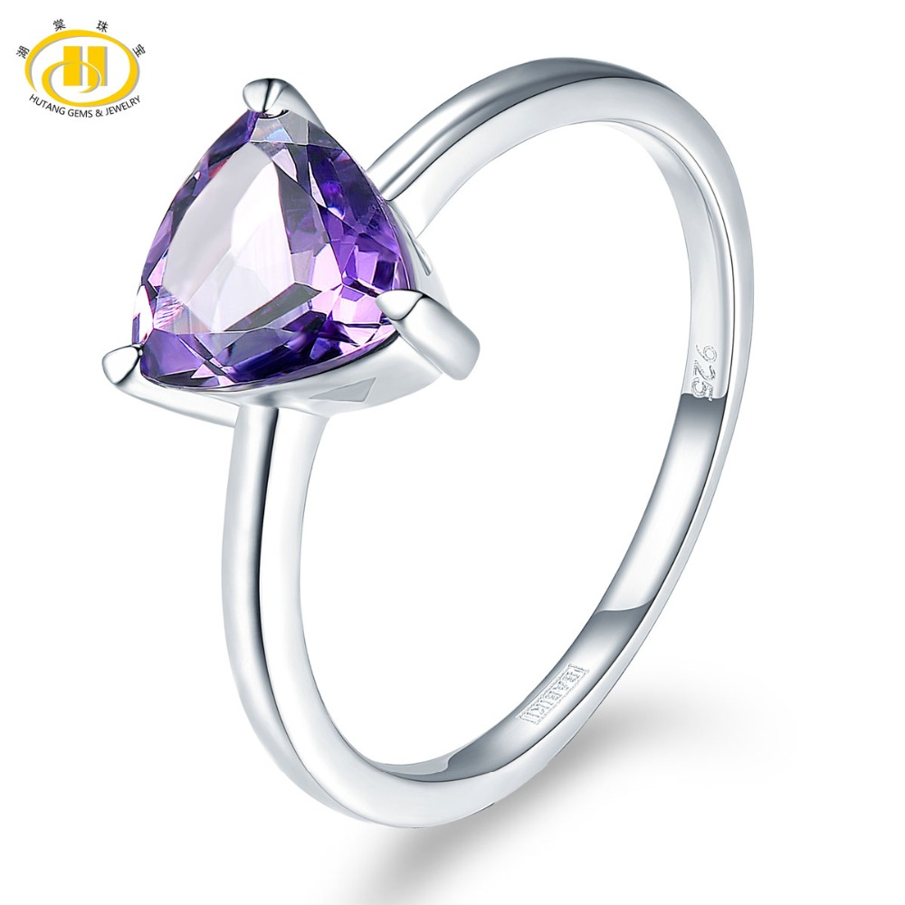 Hutang Stone Jewelry Natural Gemstone African Amethyst Solid 925 Sterling Silver Wedding Ring Fine Fashion Jewelry For Gift New