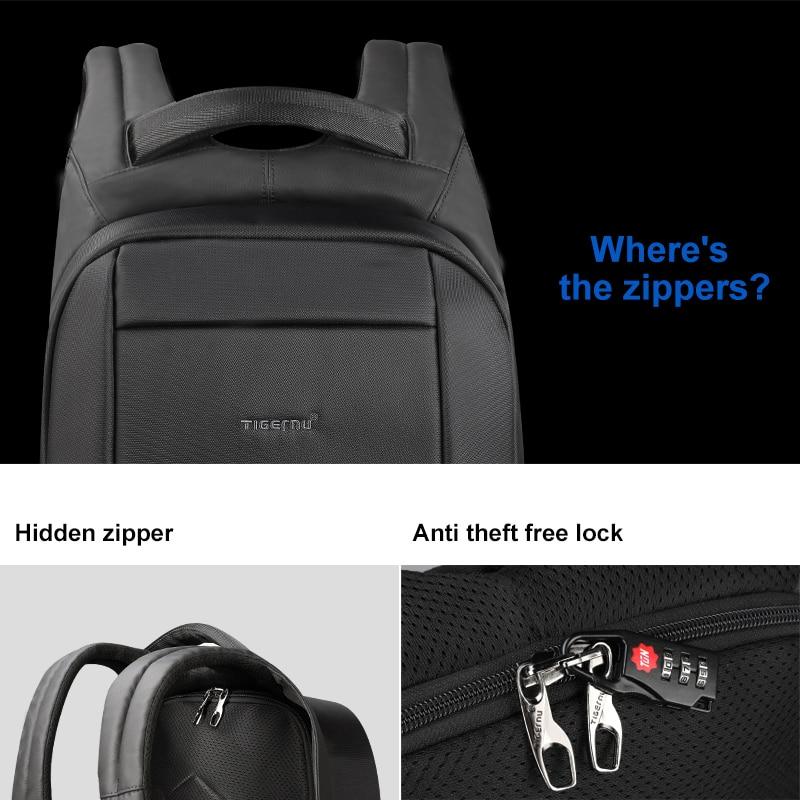 Tigernu étanche Anti-vol mâle Mochila 15.6 pouces sac à dos pour ordinateur portable hommes USB sacs à dos sacs d'école sac à dos pour adolescents sac de voyage - 3