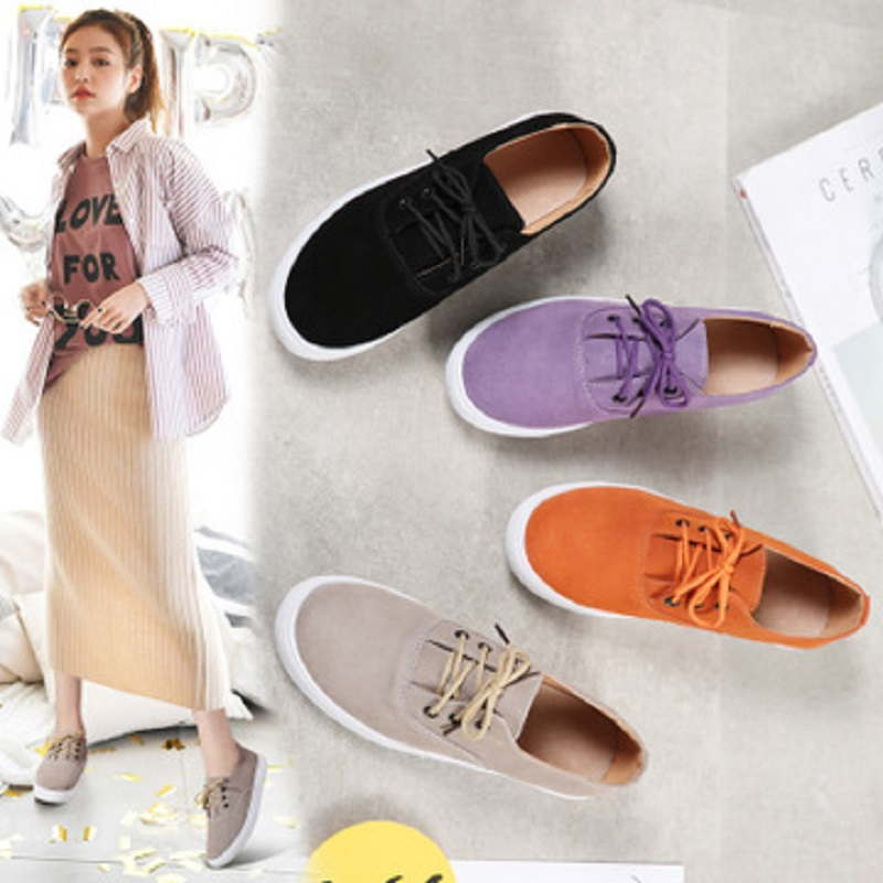 2018 New Spring Autumn Women Sneakers Shoes Flats Shoes Women   Leather     Suede   Lace Up Boat Shoes Round Toe Female Flats Moccasins