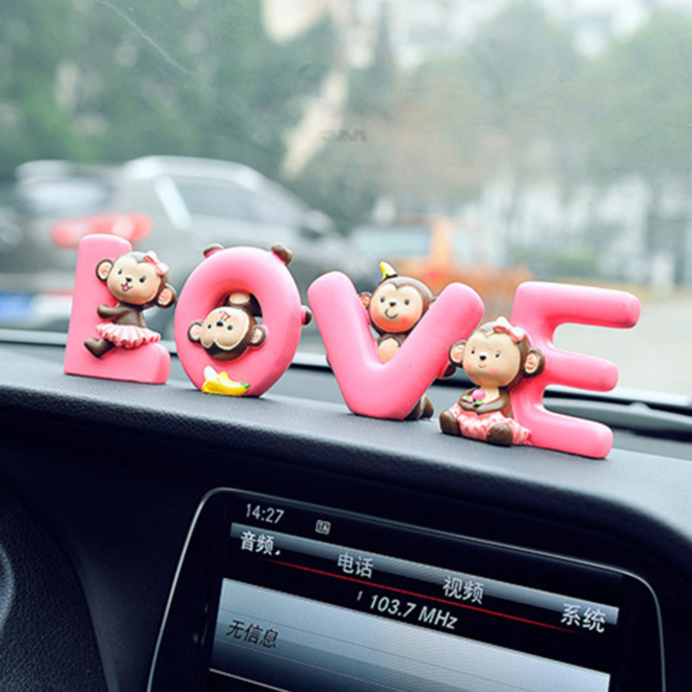 Interior Accessories Automobiles & Motorcycles Car Ornament Resin Office Dashboard Decoration Home Craft Birthday Cute Monkey Interior Cartoon Valentines Day Pendant Gift Structural Disabilities