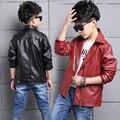 2017 Nova Primavera Chegada Crianças de Design Da Marca Outerwear Casaco Desportivo crianças Falso Leathter Casacos Meninos Jaquetas Casacos 11 13 15 anos