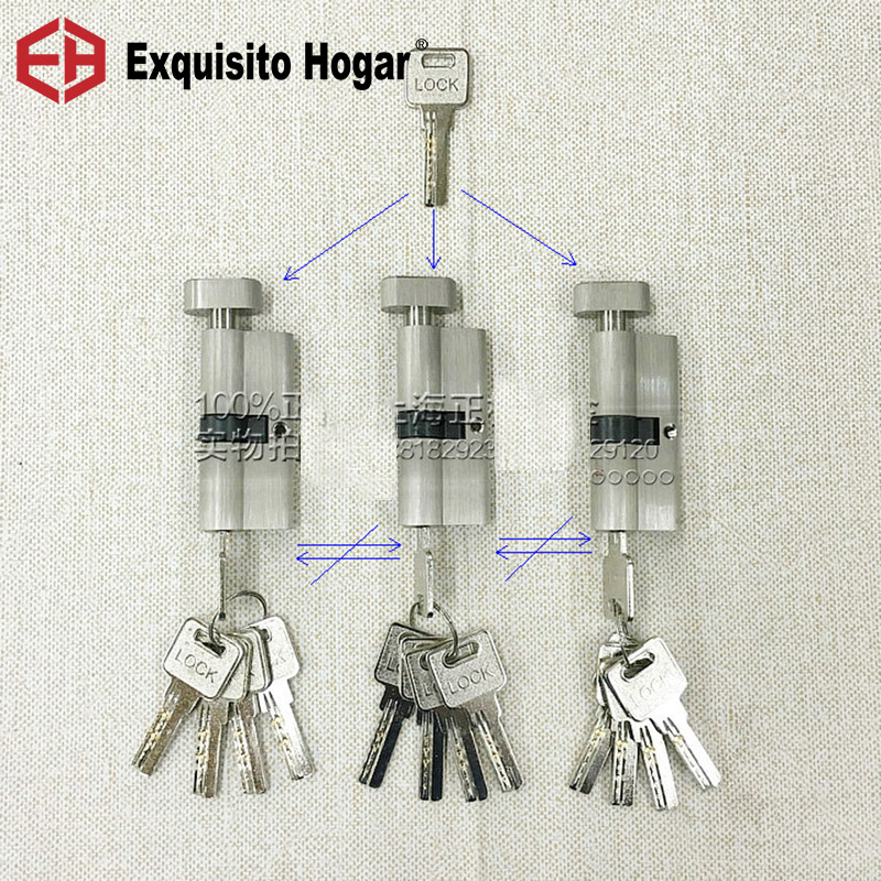 Secondary Management Same Key Open All Keys 70mm Cylinder Door Hardware Security  Locks Brass Cylinder Single Interlocking