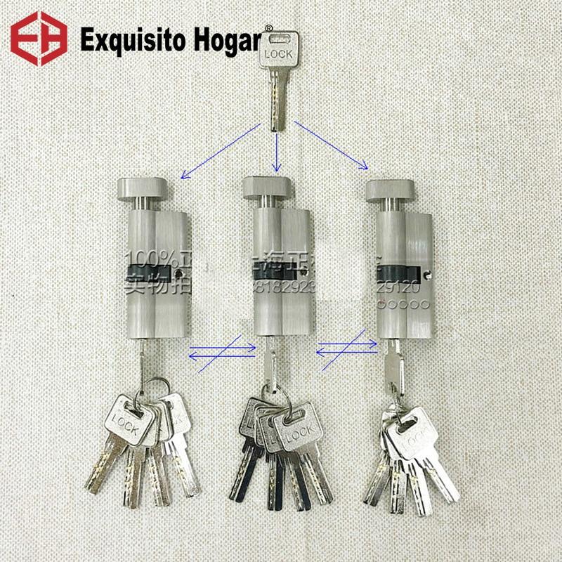 Secondary Management Same Key Open All Keys 70mm Cylinder Door Hardware Security  Locks Brass Cylinder Single Interlocking