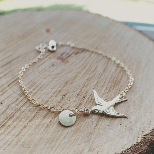 Gold Tiny Dove Bracelet Chain Birds Cute Women Bracelets Sh033