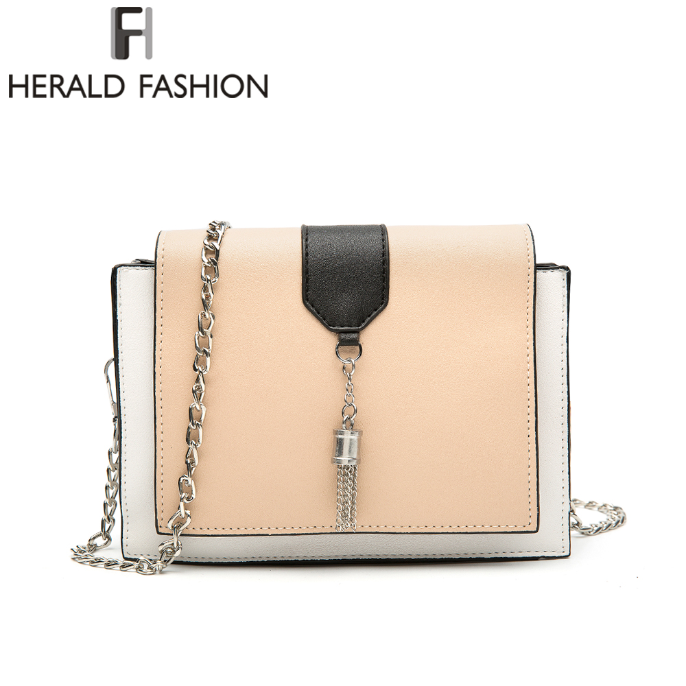 Herald Fashion Chains Mini Flap Bag Women Panelled Messenger Bags High Quality PU Leather Crossbody Bags Female Shoulder Bag fashion handbags pu leather women shoulder bag mickey big ears shell sweet bow chains crossbody female mini small messenger bag