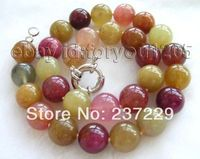 Wholesale price FREE SHIPPING AD18 Natural 14mm Multicolor Round Jade Necklace