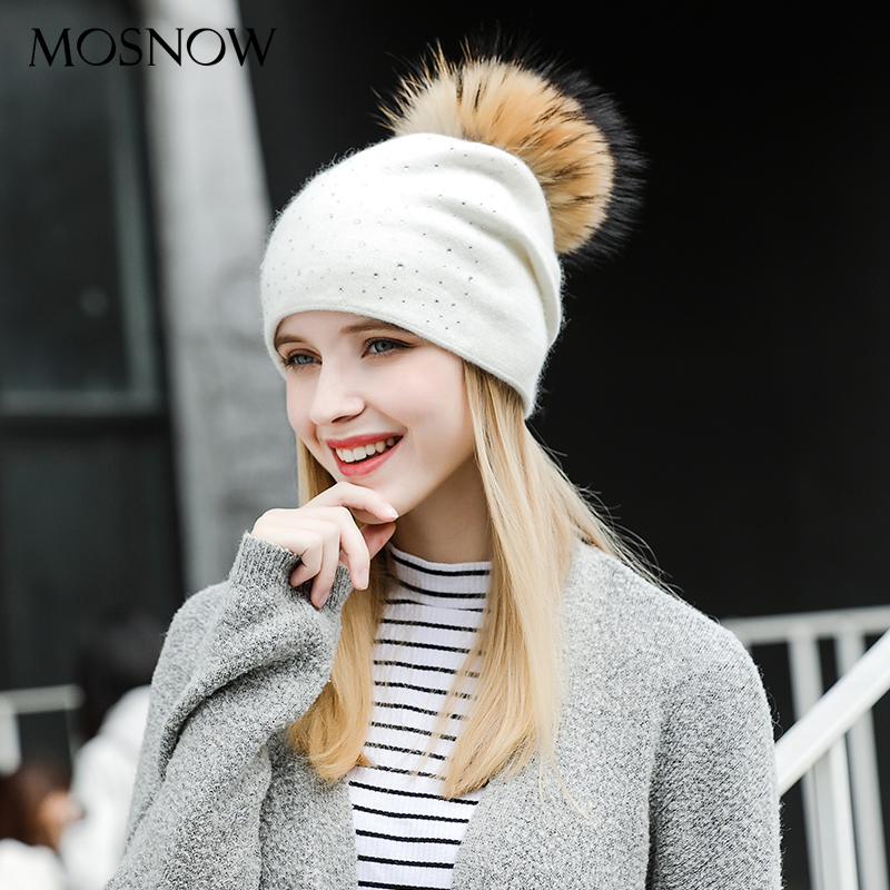 Girls Knitted Beanie Wool Hat Raccoon Fur Pom Pom 2018 Winter Soft Women  Skullies Caps Fashion abf3701f569a