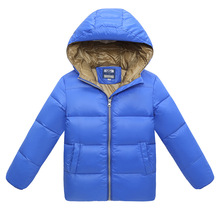 Warm Down Coat for boys Hooded Winter Jackets Boys Zipper Letter Girls Winter Coat Doudoune File