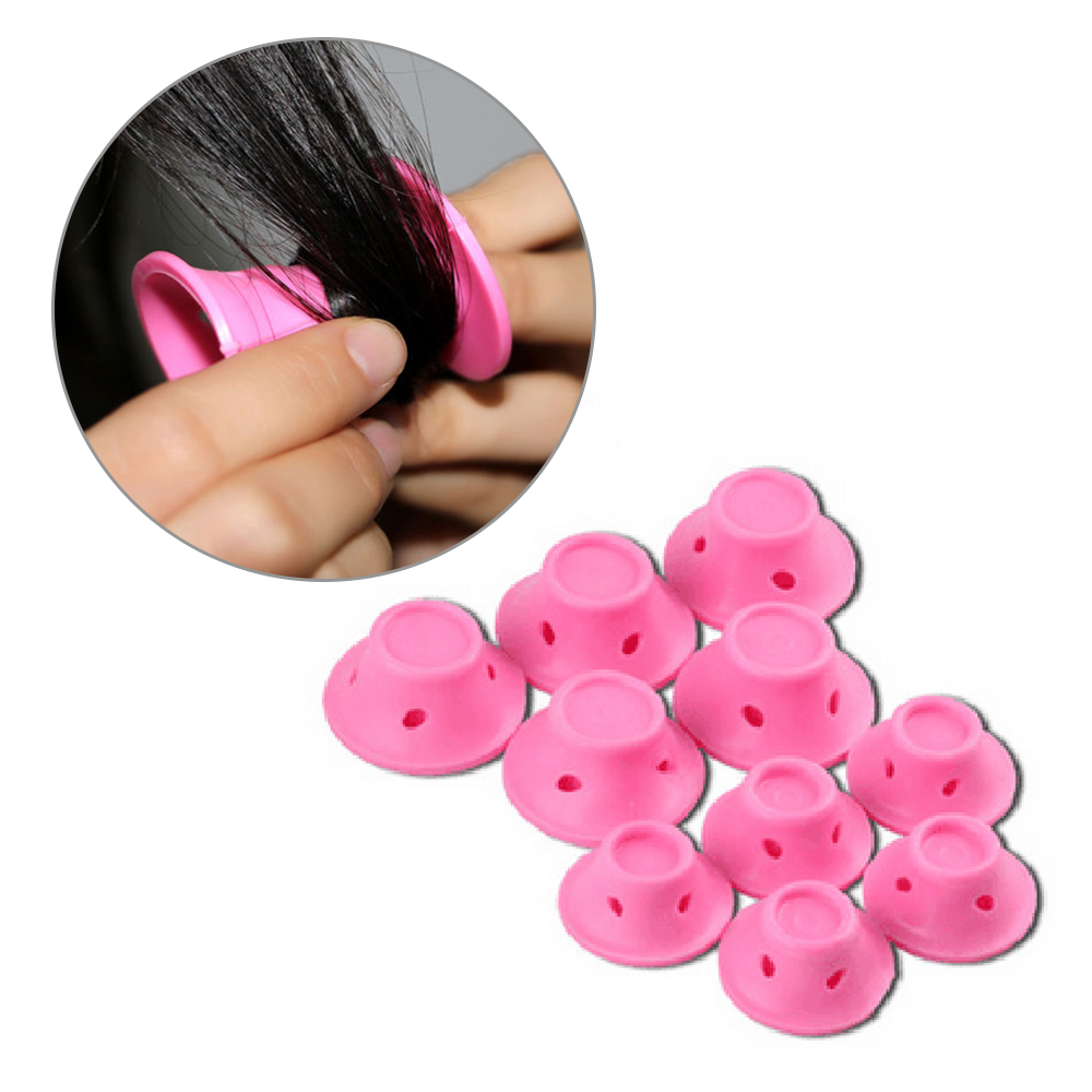 10 Pcs Pink Silicone Hair Curler Hair Care Reusable Roll Hair Style Curling Tool