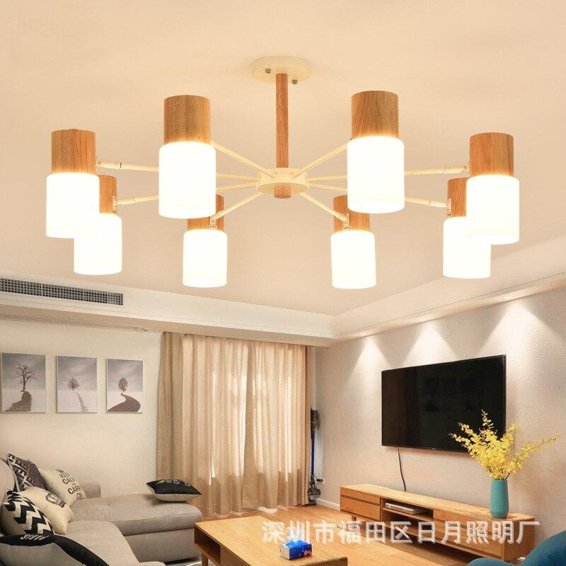 Modern Art OAK Wooden Pendant Lights Hanging Wood Lamps Dinning Room Restaurant Fixtures Indoor Decoration Pendant Lamp