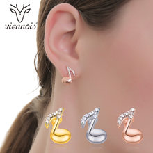 Viennois Silver/Gold/Rose Gold Color Stud Earrings for Women Austrian Rhinestone Music Earrings 2018(China)