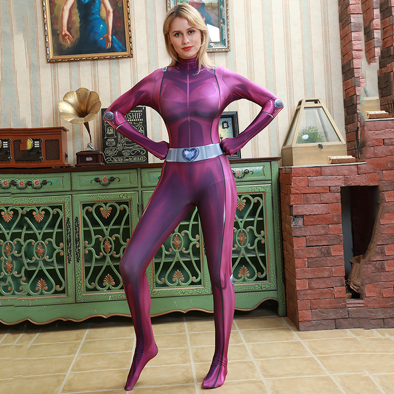 Totally Spies Base Costume Suit Lycra Spandex Superhero Girl Cosplay Zentai Catsuit Adult Women Halloween Carnival Fancy Dress