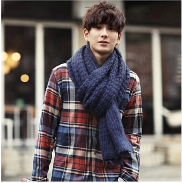 aa55df31687 New Fashion Men Wool Woolen Scarf Thick Lengthen Autumn And Winter Knitted  Warm Solid Collar Muffler-in Scarves from Men's Clothing & Accessories