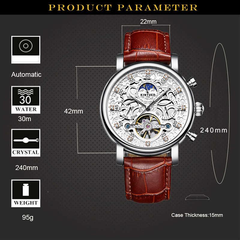 KINYUED каркасные часы с автоматическим подзаводом Для мужчин солнце и лунной фазой, Водонепроницаемый мужской турбийон механические часы от топ бренда, Роскошные наручные часы