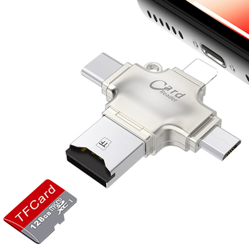 All in one Type c/Micro USB/USB MicroSD TF Memory Card Reader Adapter for iPad for iphone XS XR 5s 6 7 8 PLUS Android OTG Phone