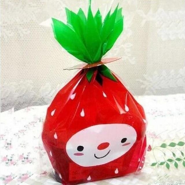 100 cái 12X19 cm Cookie Bao Bì Màu Đỏ Strawberry Nhựa Túi cho Bánh Snack Gói Baking Quà Tặng Kẹo Bag bé Tắm
