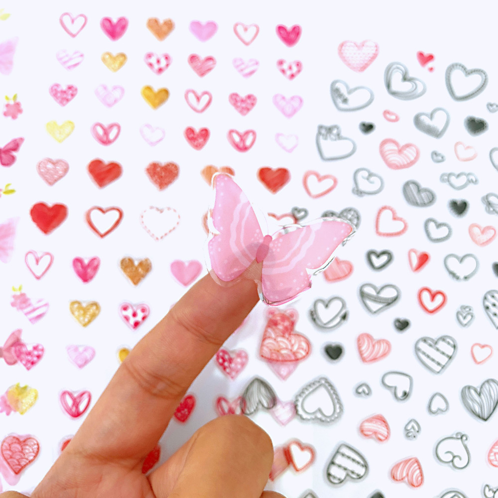 1 Sheet Kawaii Heart Butterfly DIY Adhensive Mini Stickers Stationery Decorative Stick Label School Office Supply