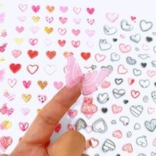 1 Sheet Kawaii Heart Butterfly DIY Adhensive Mini Stickers Stationery Decorative Stick Label School Office Supply