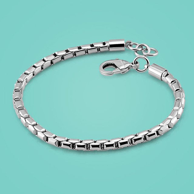 Men 925 Sterling Silver Bracelet Clic Style Box Chain Design Solid For