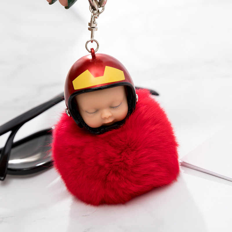 Nova Vestindo Capacete Chaveiro boneca Faux Fur Pompom Saco cadeia de carro bebê Dormindo pingente Anel Chave Do Carro Chaveiro criativo K1721
