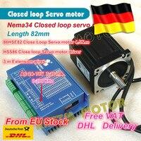 1Set Nema34 4.5N.m Closed Loop Servo motor Motor Kits 82mm 6A Closed Loop & HSS86 Hybrid Step servo Driver 8A CNC Controller Kit