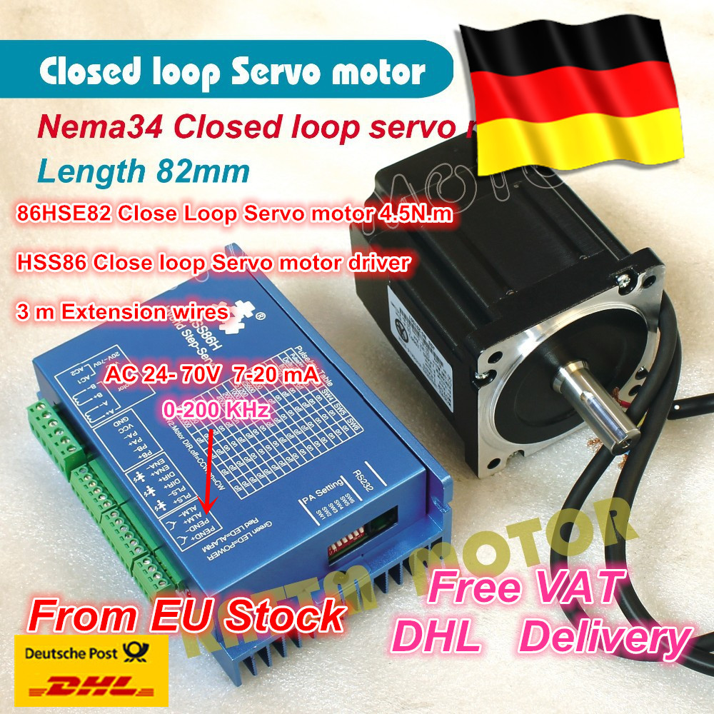 1Set Nema34 Closed Loop Servo motor Motor Kits 82mm 6A Closed Loop 4.5N.m & HSS86 Hybrid Step-servo Driver 8A CNC Controller Kit bertha high guality fashion aviator hd polarized sunglasses men driving fishing glasses brand designer for men 8002