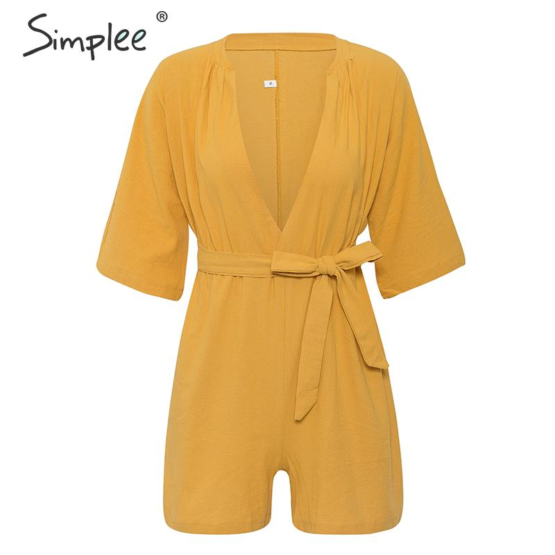 Simplee Cotton linen solid v-neck women jumpsuit romper Short sleeve casual summer beach wear female playsuit Ladies overalls