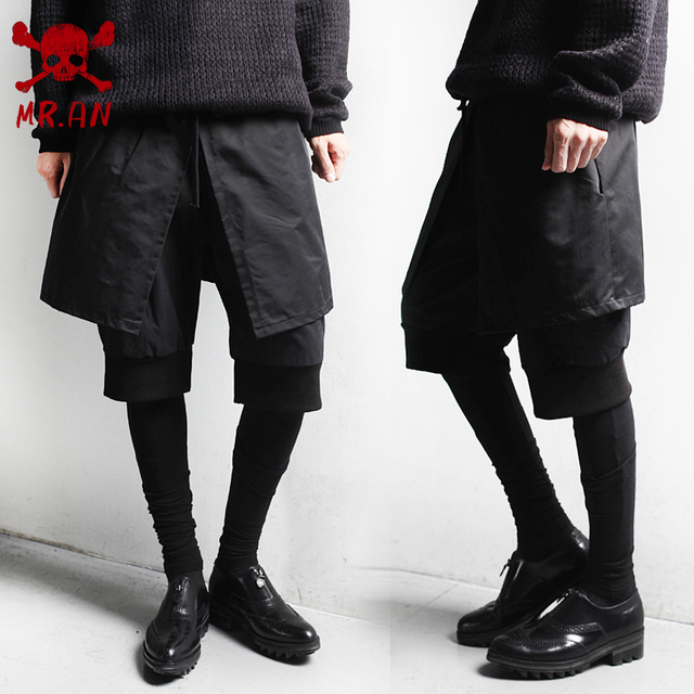 2016 Corea Del estilo de Moda Culottes Falsas hombres delgados casuales para hombre hip hop pantalones basculador botín pantalón pitillo pantalones de oliva