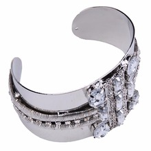 Stylish Women's Metal Wide Cuff Bracelet Crystal Bangle Wristband Jewelry Accessories