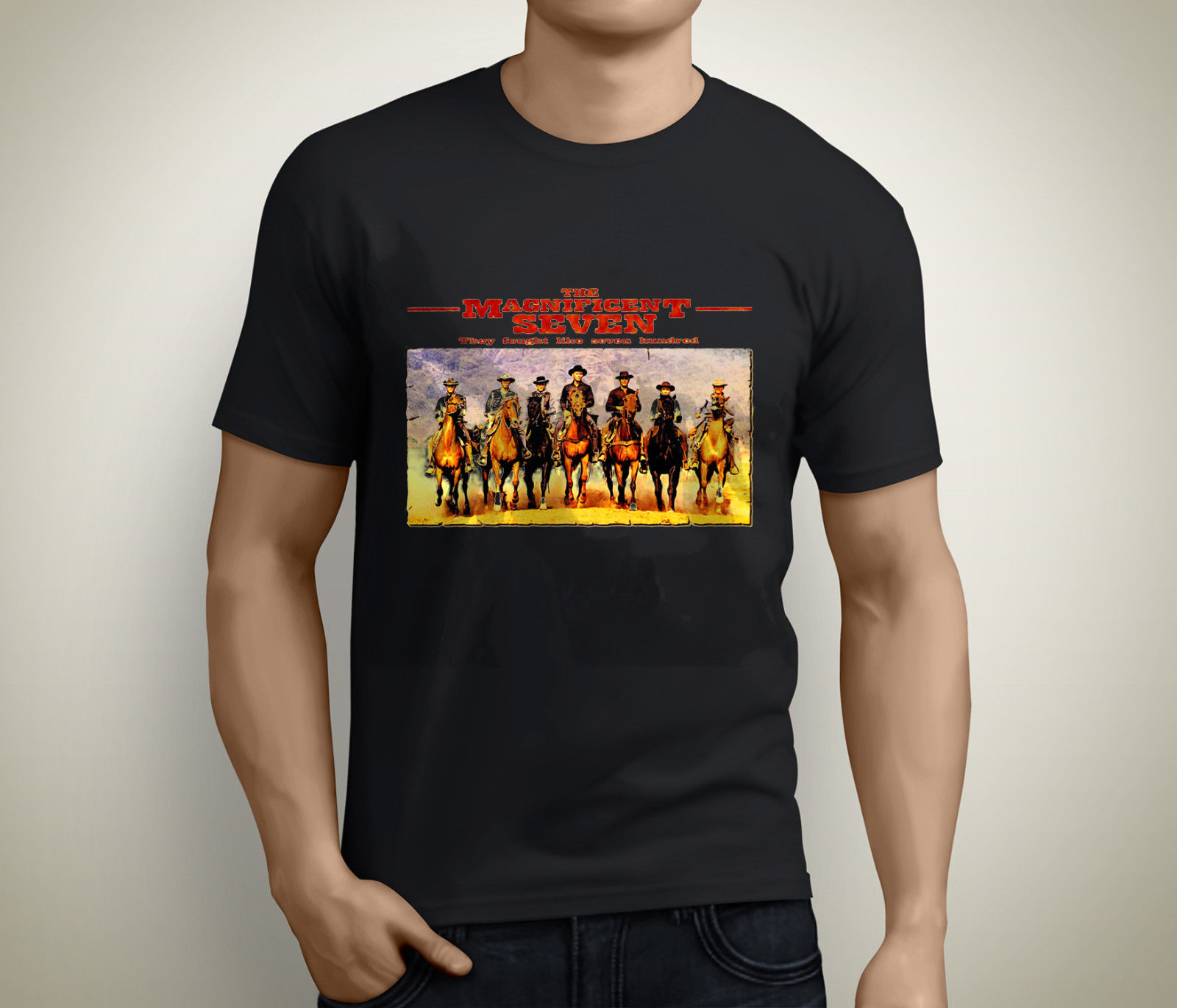 New Magnificent 7 New Movie Denzel Washington Men's Black T-Shirt Size S to 3XL Cartoon Print Short Sleeve T Shirt Free Shipping image