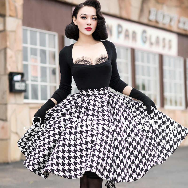 31a66334930 35- winter le palais vintage 50s knitting houndstooth circle swing skirt  plus size saia femininas